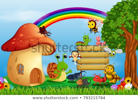 lagarta · cogumelo · casa · ilustração · folha · fundo - foto stock © colematt