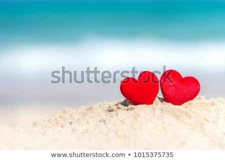 Kettő piros szívek együtt esküvő szeretet Stock fotó © Wetzkaz
