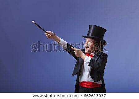 kid · goochelaar · gelukkig · cartoon · konijn · hoed - stockfoto © cthoman