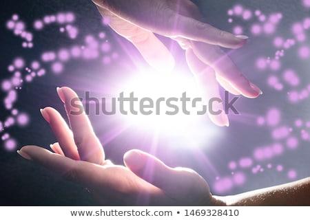 Geheimnisvoll Macht Hände glühend Hand Stock foto © AndreyPopov