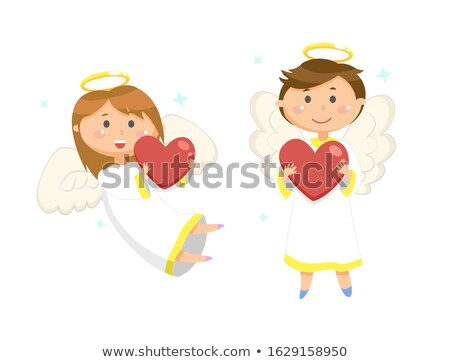 enfolding girl and boy holding heart balls vector stock photo © robuart