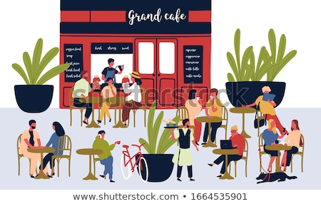 Cafe Tables and Couple Relaxing Outdoor Vector Stock photo © robuart