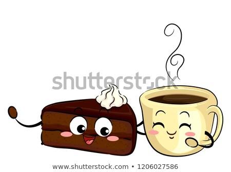 Mascot Sachetorte Cake And Coffee Illustration Stock photo © lenm