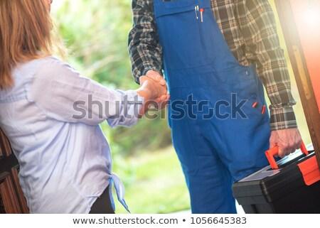 handen · schudden · jonge · vrouw · uniform · keuken · huis - stockfoto © andreypopov