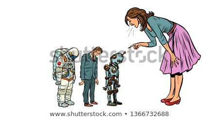The woman scolds businessman, spaceman and robot Stock photo © studiostoks