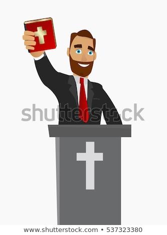 Hombre Biblia ilustración felizmente predicación Foto stock © lenm