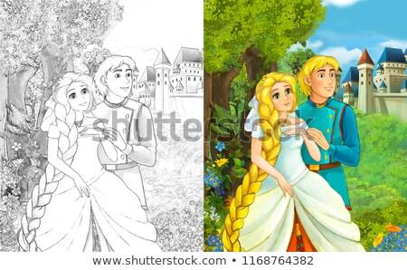 Foto d'archivio: Prince · principessa · castello · scena · illustrazione · donna
