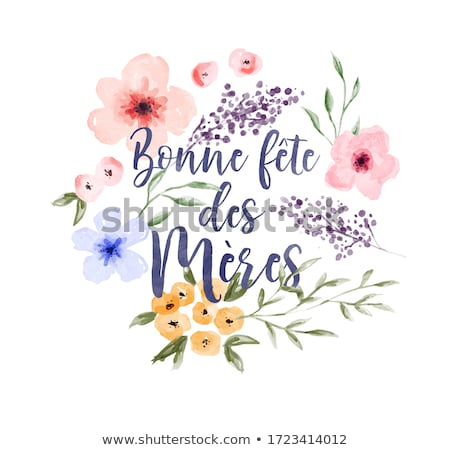 French Mothers Day card of flower spring quote Stock photo © cienpies