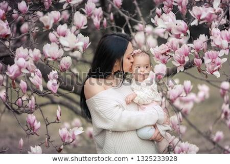 Aranyos baba hónap öreg lány rózsaszín Stock fotó © ElenaBatkova