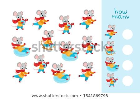 nombre · dix-huit · cartoon · lapins · groupe · illustration - photo stock © izakowski