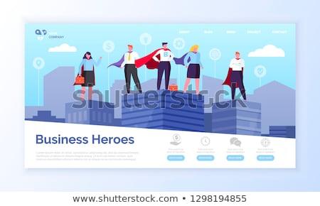 Negócio heróis pessoas empresário empresária vetor Foto stock © robuart