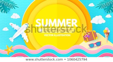 Nyár vásár terv napszemüveg egzotikus pálmalevelek Stock fotó © articular