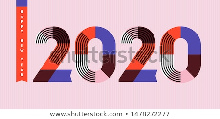 happy new year 2020 design numbers with stripes and ribbons stock photo © ussr