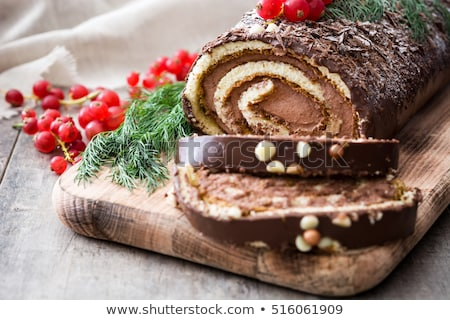 Christmas yule log cake. Traditional chocolate dessert Stock photo © furmanphoto