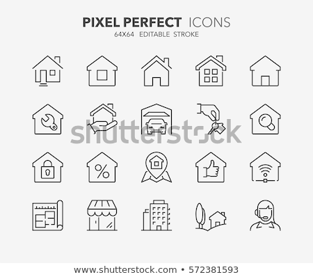building house sale vector thin line icons set stock photo © pikepicture