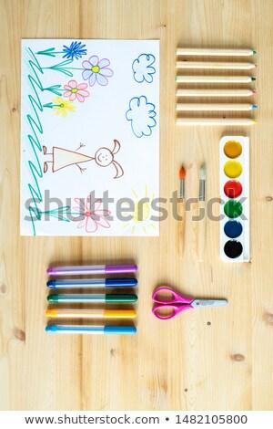 絵画 · セット · クレヨン · 水彩画 · 白 · 紙 - ストックフォト © pressmaster
