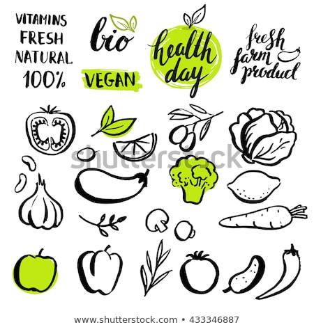 Kézzel rajzolt organikus vegan étel címkék szimbólumok Stock fotó © SArts
