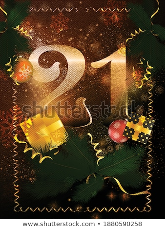 2020 New Year greeting card. Christmas ball with confetti. Xmas ball on dark background. Holiday dec Stock photo © olehsvetiukha