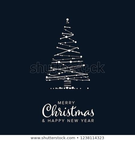 Minimalist Noel şablon uçan kart beyaz Stok fotoğraf © orson