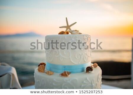 Esküvői torta tengerpart esküvő trópusok víz étel Stock fotó © galitskaya