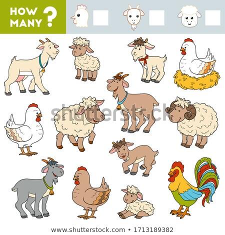Sok farm állatok oktatási feladat gyerekek illusztráció Stock fotó © izakowski