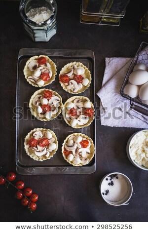 Mini koktélparadicsom mozzarella sajt fa deszka felső Stock fotó © Illia