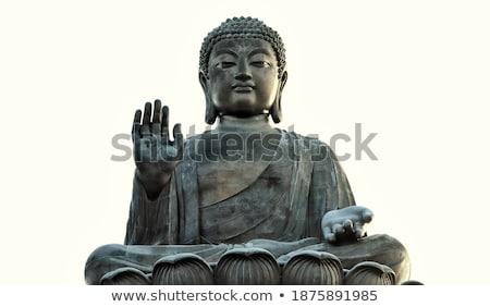 Foto stock: Grande · monge · bronze · estátua · buda · templo