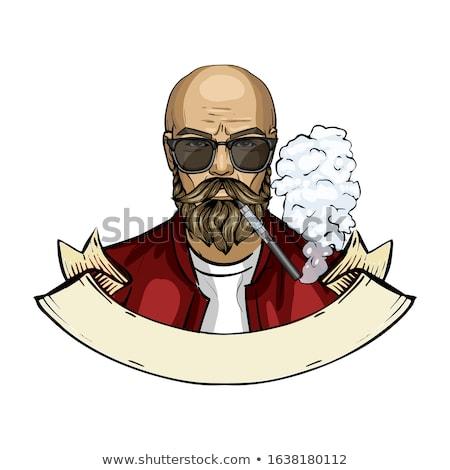 Szkic człowiek papierosów kolor okulary Zdjęcia stock © netkov1