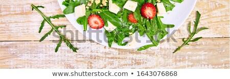 Banner świeże Sałatka truskawek orzechy Zdjęcia stock © Illia