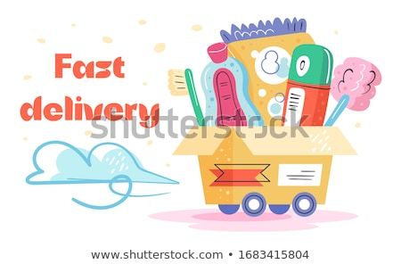 Fast  delivery. Toothbrush, antiseptic,washing powder, deodorant, bath. Stock photo © foxbiz