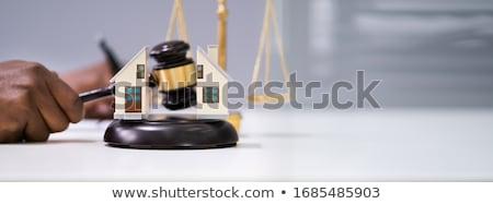 Judge Striking Gavel Between Split House Stock photo © AndreyPopov