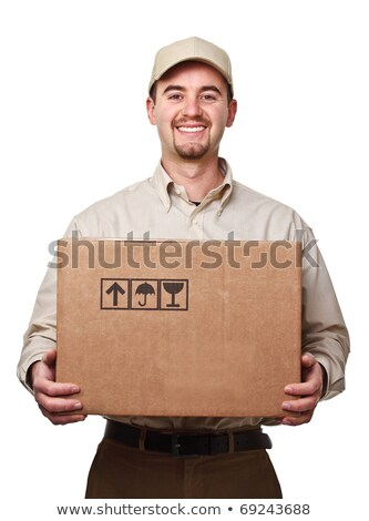 Young male courier with box isolated on white  Stock photo © Elnur