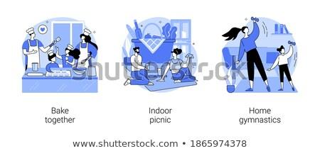 Tartózkodás aktív absztrakt vektor illusztrációk szett Stock fotó © RAStudio