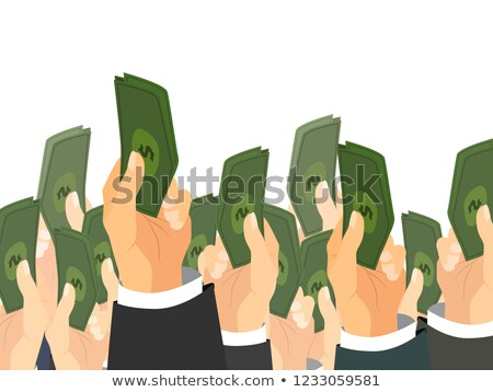 A lot of hands holds a bunch of banknotes with dollar sign. Auction sale concept illustration Stock photo © evgeny89