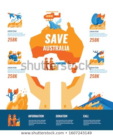 Australië land silhouet brand wildvuur illustratie Stockfoto © evgeny89