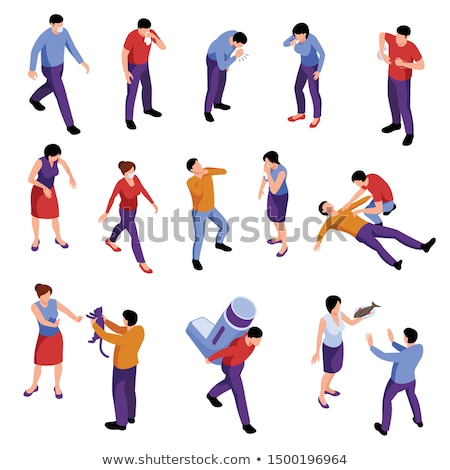 Character Man Sneezing Coughing isometric icon vector illustration Stock photo © pikepicture