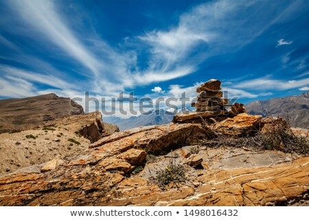 Stockfoto: Stone Cairn In Spiti Valley In Himalayas