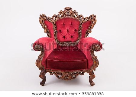 Antiken Barock Sessel Damast Stuhl home Stock foto © ElaK