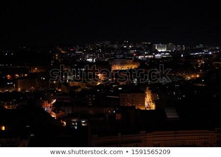 Tramwaj noc widoku główny drogowego Zdjęcia stock © franky242