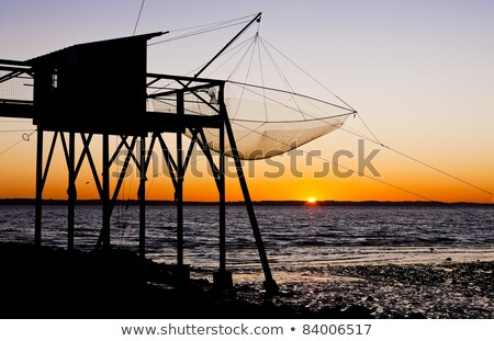 pier with fishing net gironde department aquitaine france stock photo © phbcz
