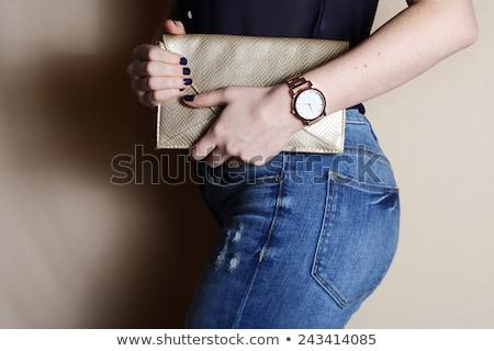 jovem · mulher · ver · de · volta · moda · mãos · cabelo - foto stock © iofoto