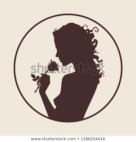 romantyczny · kobieta · zielone · sukienka · biały - zdjęcia stock © zastavkin
