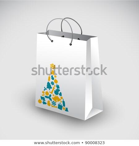 White shopping bag with christmas motive Stock photo © orson
