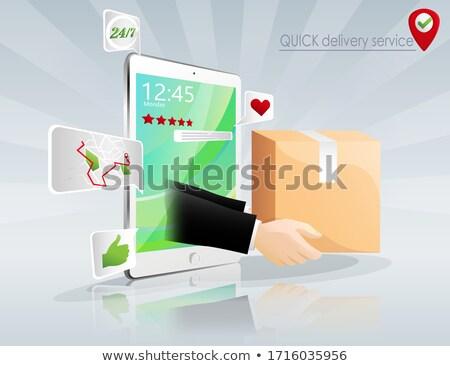 empresário · trabalhando · ipad · ilustração · 3d · internet · abstrato - foto stock © dacasdo