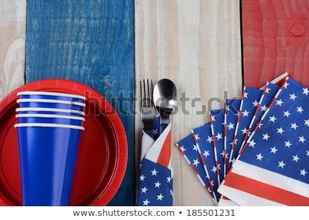 Rood witte Blauw picknicktafel klaar vieren Stockfoto © klsbear