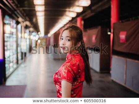 kadın · çekici · Çin · elbise · geleneksel - stok fotoğraf © ronen