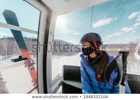 лыжник маске изолированный белый глаза моде Сток-фото © olira