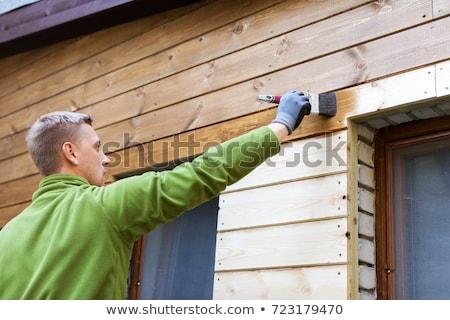 Pictura lemn pictor tamplarie concentratie om Imagine de stoc © Hofmeester