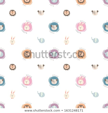 cute bunny heads set isolated on white stock photo © lordalea