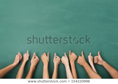 Stock photo: Thumbs up on blackboard